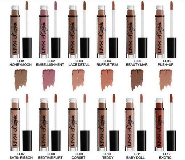 Nyx lip lingerie liquid matte lip cream lip tick 12 color charming long la ting brand makeup lip tick lip glo hipping