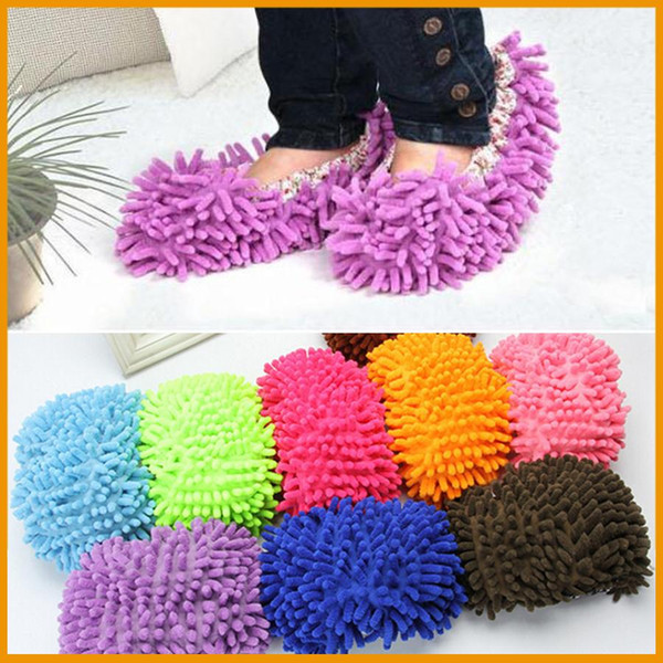 1pair House Bathroom Dust Cleaner Grazing Slippers Floor Cleaning Mop Cleaner Slipper Lazy Shoes Cover Microfiber