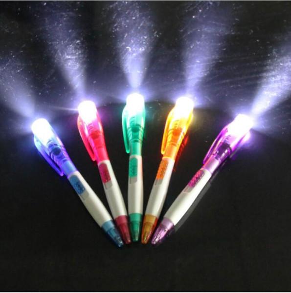 Nettes kreatives Büro-Briefpapier mit neuer geführter Taschenlampe LED Birnen-Lampen-Q5 Multifunktionsfeder-Nachtneuheits-Licht