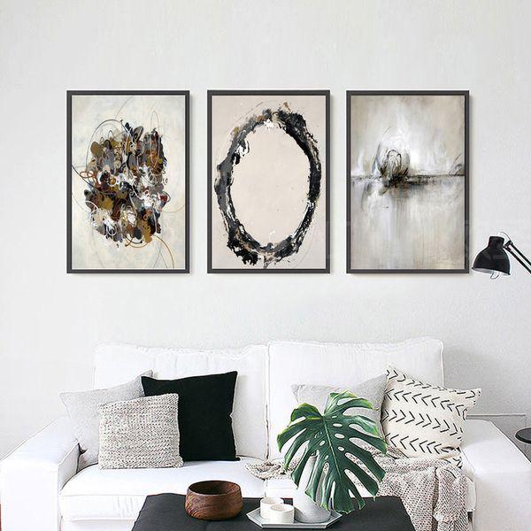 Acheter 3 Peintures De Décoration De La Maison Moderne Peinture Murale Art Peinture Mode Murale Toile Impression Affiche Abstrait Couleur Bloc De