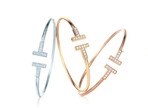 best selling Gold Plated Adjustable CZ Crystal Pulsera Double T Shaped Metal Cuff Bracelets&Bangle Open Cross Charm Bracelet For Women Or Men