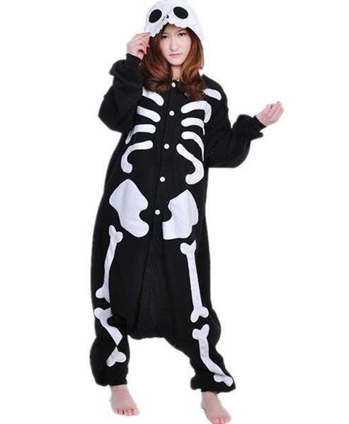 Winter New Sleepsuit Adult Cartoon Skeleton Skull Onesie Unisex Pajamas Cosplay Costumes Sleepwear Cartoon Jumpsuit All In One Halloween