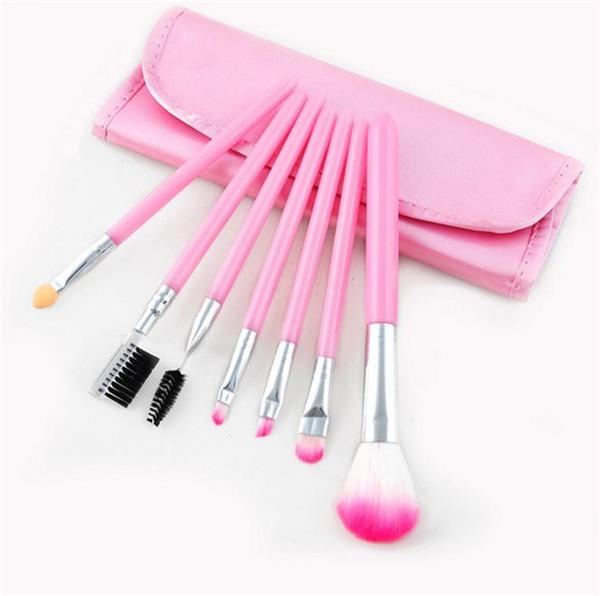 New Makeup Brushes Make Up Brush Set Kits Eyelash Brush Blush Brush Eye-shadow Brush Sponge Sumudger 7pieces Make Up Tools PU Bag 2913