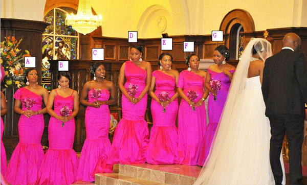 7 Styles African Traditional Bridesmaid Dresses Fuchsia Long Elastic Satin Long Formal Maid of Honor Party Evening Gowns for Any Body Shape