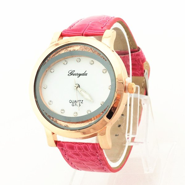 Free shipping!PVC leather band,gold plate case,moving sand stone under glass,quartz movement,Gerryda fashion woman lady leather watches 705