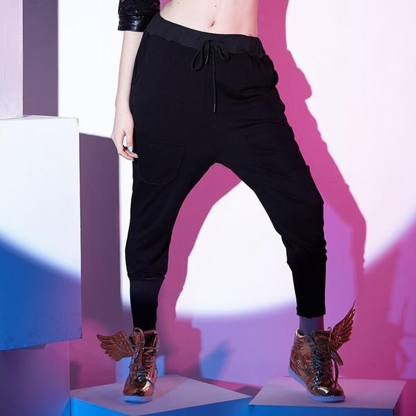 Otoño e invierno Mujer Casual Hip Hop Pantalones de baile ropa de calle Multi bolsillos Pantalones harem para mujer pantalones delgados
