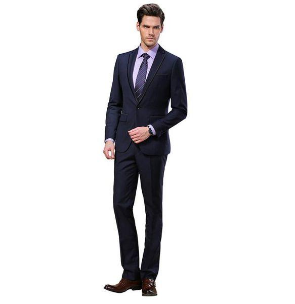 Slim Fit 2016 Groom Tuxedos Wedding Suits Custom Made Groomsmen Best Man Prom Suits Black Pants (Jacket+Pants)two-piece