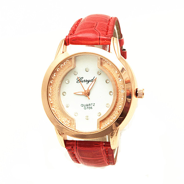 Free shipping!PVC leather belt,gold plate case,moving sand stone under glass,crystal on dial,gerryda fashion woman lady quartz leather watch