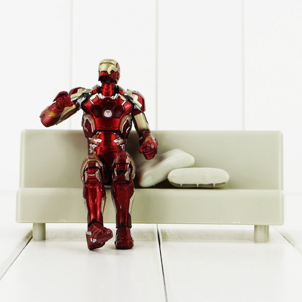 15.5cm Super Hero Iron Man with Sofa PVC Action Figure Collectable Model Toy for kids gift free shipping