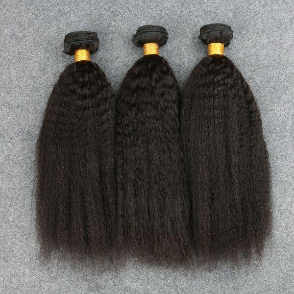 Cheveux Vierges Péruviens Kinky Cheveux Raides Tissage 3 Faisceaux Légers yaki Cheveux Raides Non Transformés Italien Yaki Cheveux Humains