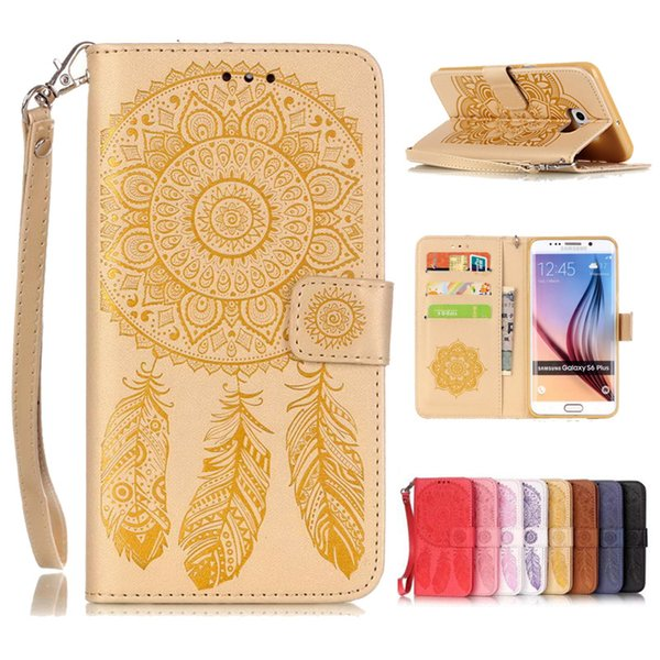 Pour iphone 7 plus samsung S7 edge S6 Plus S5 Belle portefeuille étui en cuir PU Flip Soft Gel Couverture en relief Campanula fleur SCA173