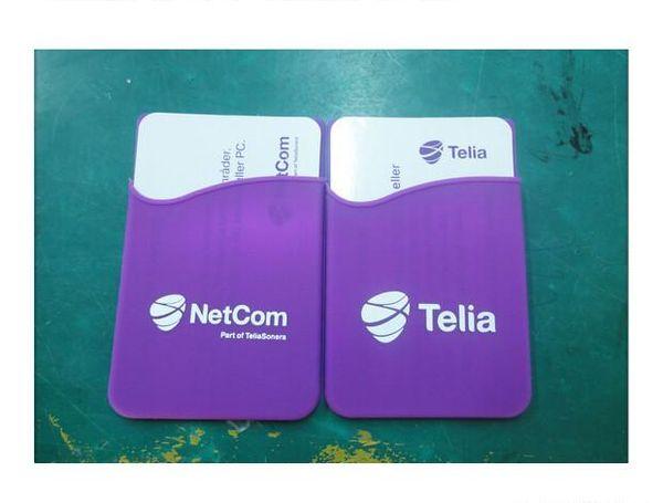 Alta calidad logotipo personalizado teléfono celular 3 m etiqueta engomada de goma titular de la tarjeta de silicona móvil crédito móvil titular de la cartera para iphone / samsung