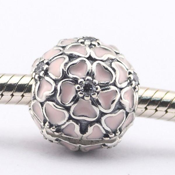 Cherry Blossom клип мягкий розовый эмаль ясно CZ 100% стерлингового серебра 925 шарик Fit Pandora ювелирные изделия DIY очарование бренда