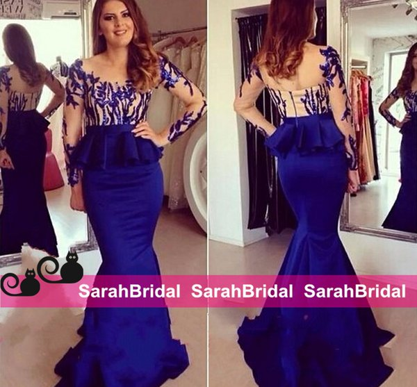 Discount Celebrity Style Mermaid Evening Dresses Sheer Long Sleeves Royal Blue Peplum Fit and Flare Prom Gowns 2016 Women Pageant Wear Cheap