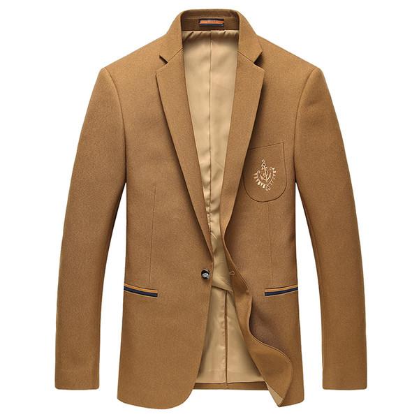Wholesale-Man Blazers se adapta a los trajes de negocios y de ocio de último estilo de otoño, un traje de un solo pecho amarillo 3XL