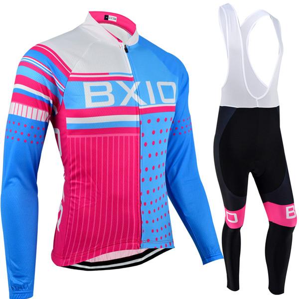 BXIO Marque Vélo Vêtements À Manches Longues Femmes Cyclisme Jersey Ensembles Bleu Rose Compressé Automne Suite Anti Pilling Vélos Vêtements BX-013