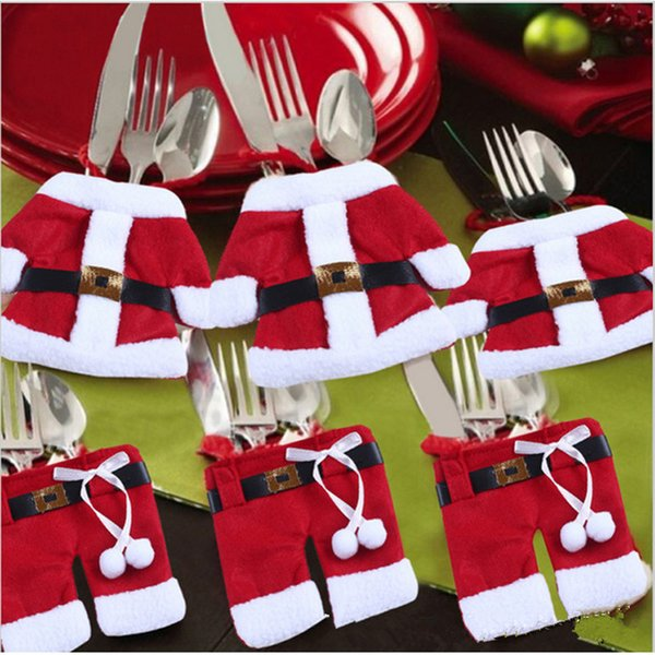 Cute Tableware Knife Fork Holders Santa Clothes Silverware Bags Cover Suit Christmas Table Decorations Christmas Gift
