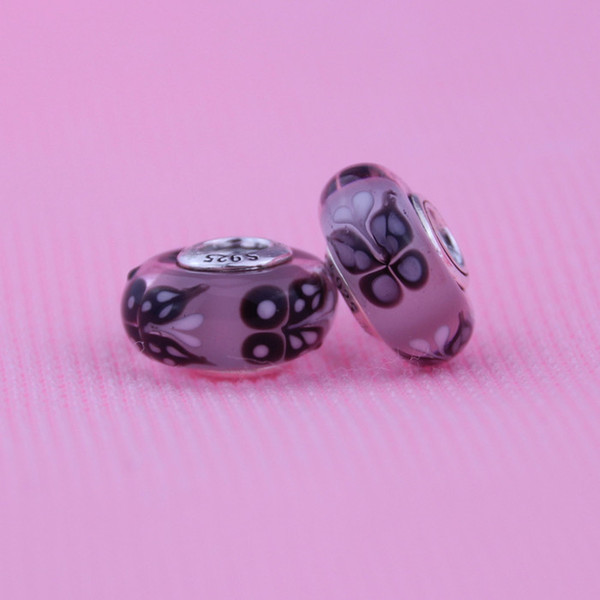 Fits for Pandora Diy Bracelet Necklace Original 100% 925 Sterling Silver Jewelry Pink butterfly kisses Charm Murano Glass Bead