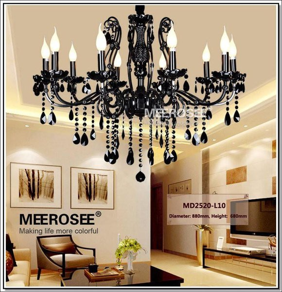 Vintage Black 10 Arms Chandelier Crystal Light Fixture Chandeliers Large American Wrought Iron French Style Lighting Drop Light MD2520