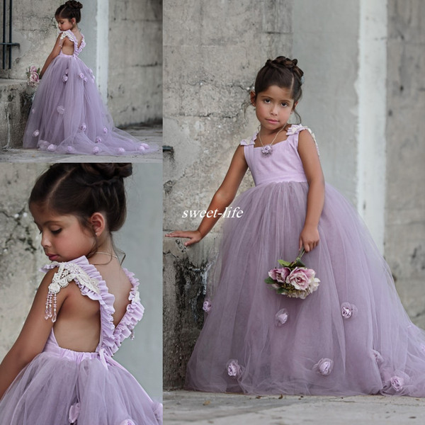 Lovely Light Purple Ball Gown Wedding Flower Girl Dresses 3D Handmade Flower Puffy Tutu Vintage Lace 2017 Kids Baby Dress for Party Birthday