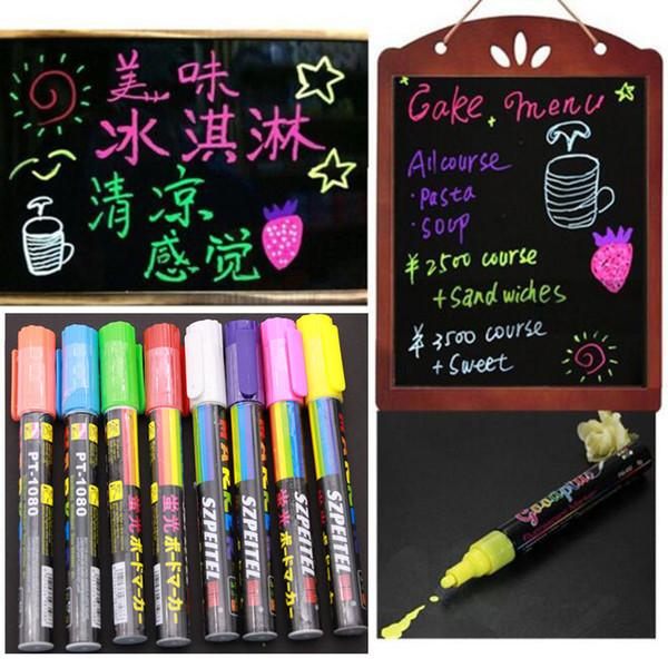 Wholesale- 8pcs Luminous Color Highlighter Fluorescent Liquid Chalk Marker Neon Pen Led Wordpad 6mm