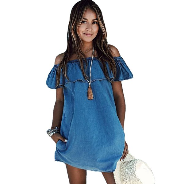 Women Ruffles Elegant Denim Dress Off Shoulder Casual Blue Short ...