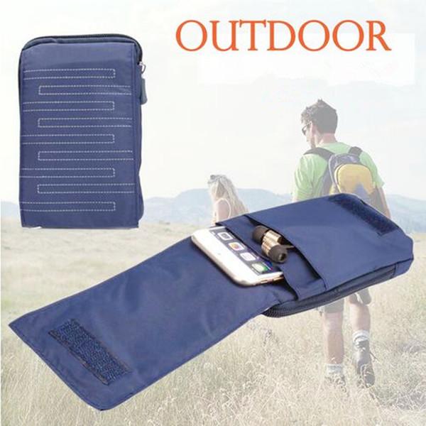 Новый универсальный молния открытый спортивный кошелек мобильный телефон сумка для мульти телефон хип талии ремень сумка водонепроницаемый холст с 3 карман
