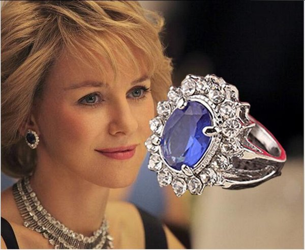 Imitation Studded with full rhinestone Faceted Sapphire ring UK United Kingdom British royal ring Princess Kate Diana wedding rings j188