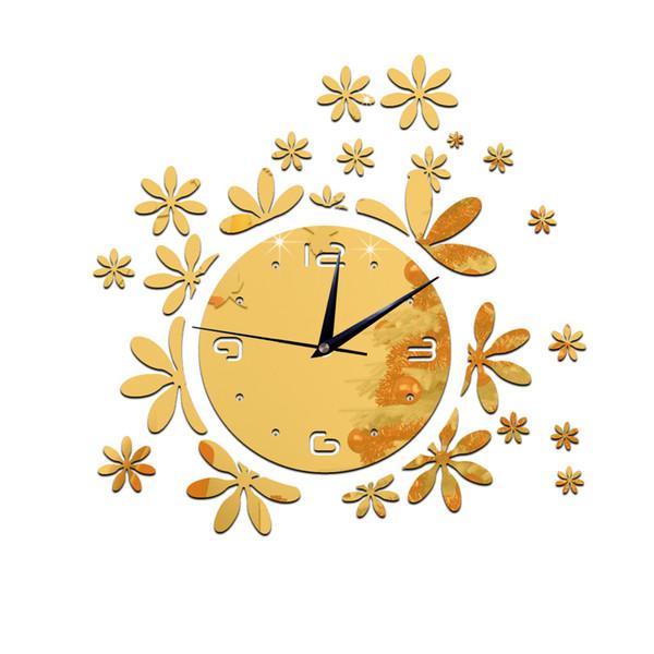 2016 venta caliente espejo reloj de pared relojes moderno diseño de cuarzo geométrico de una sola cara acrílico diy reloj decoración envío gratis TY2002