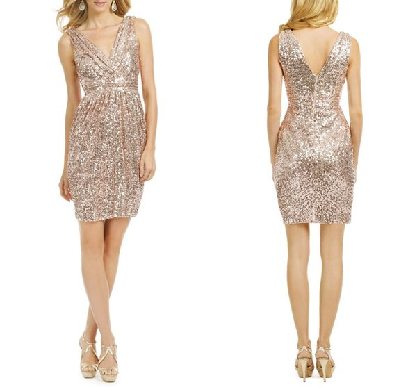 Sexy Sparkly Rose Gold Sequined Short Party Cocktail Dresses Sheath V-neck Backless Pleat Sleeveless 2017 Cheap Bridesmaid Dress Prom Gowns