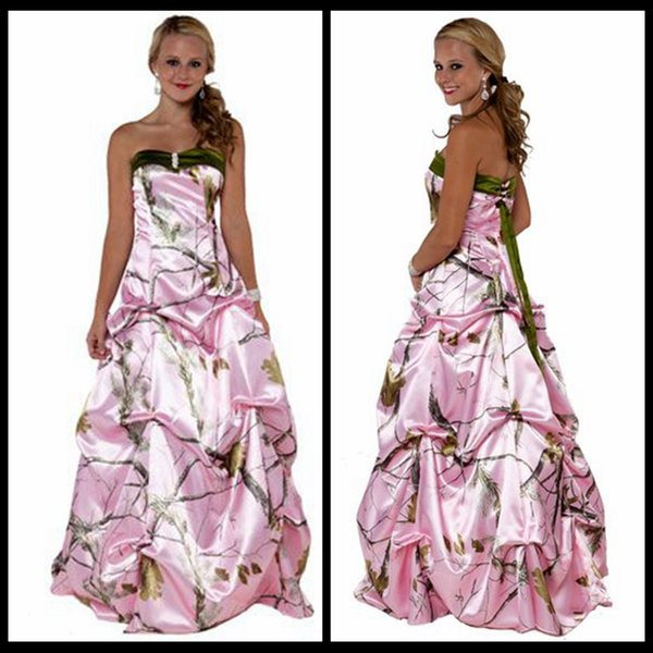 Discount New Arrival Pink Camo Wedding Dresses Green Sweetheart