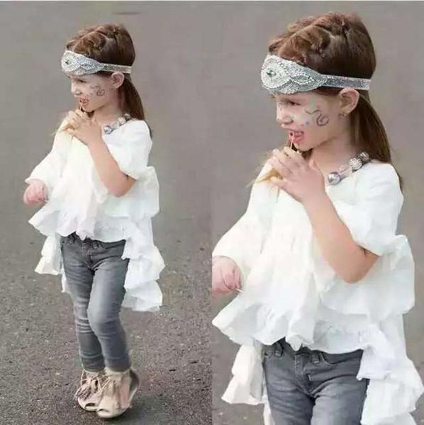 top popular Fashion Ruffle White T Shirts Girls Tops Short Sleeve T Shirt Girl Dress 2016 Summer T-Shirt Children Clothes Kids Clothing Lovekiss C22972 2020