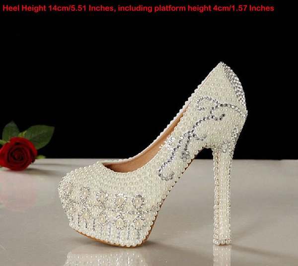 1ffaebcba24 Ivory Pearl Rhinestone Wedding Shoes Platform Women High Heel Shoes Tulip  Design Rhinestone Bridal Dress Shoes Handmade Party Prom Pumps Your Wedding  ...