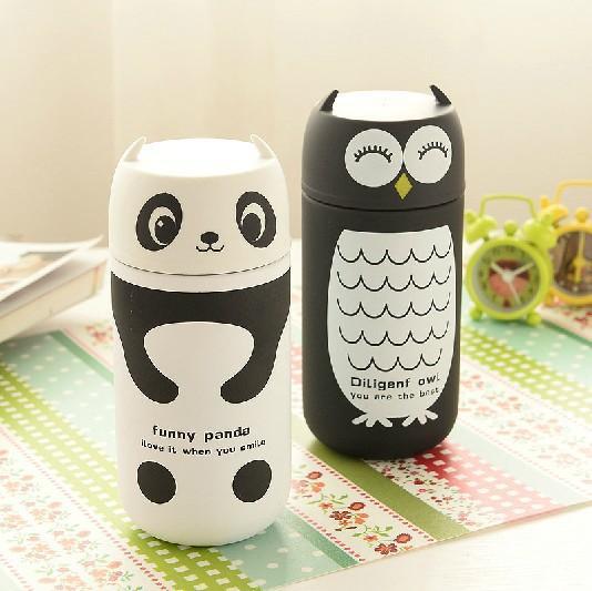 220ml Kawaii Owl Panda Cartoon Animal Vacuum Cup in acciaio inox a caldo isolamento termico boccette di vuoto vendita al dettaglio