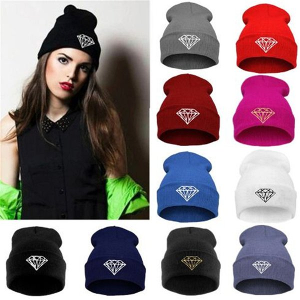 Hot Sale winter Knitted Beanies Hat wool knitted hat winter men women Caps Warm Knitted Hat diamond print ouc1093