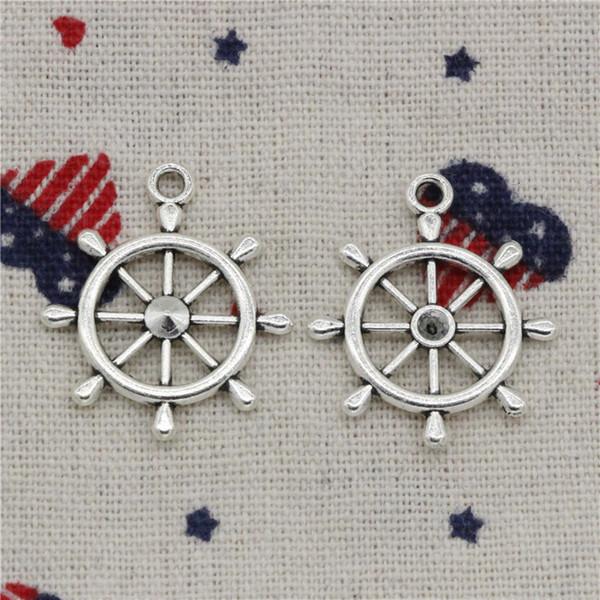 Wholesale- 104pcs Charms ship's wheel helm rudder 28*24mm Tibetan Silver Pendants For DIY Necklace & Bracelets Jewelry Accessories