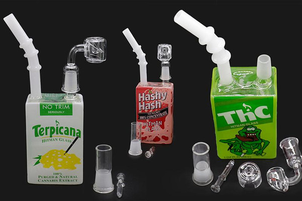 bong thick glass 14mm Liquid Sci Water bongs pipe cereal box heady pipes with quartz banger carb cap mini oil rigs for smoking
