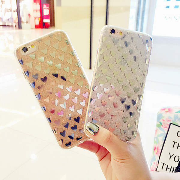 Luxury Shining Bling Pink Love Heart Phone Case Anti-knock TPU Glitter Case for Iphone 8 7 7plus 6 6s 6Plus 5 5S SE Back Cover