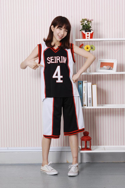 2015 Anime Kuroko no Basket Basketball Black Seirin High School Uniform Kagami Taiga Cosplay Basketball Uniform No.4 No.10 No.11