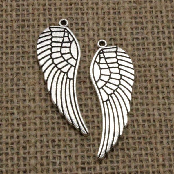 Wholesale 24pcs Charms Tibetan Silver Plated angel wings 47*15mm Pendant for Jewelry DIY Hand Made Fitting