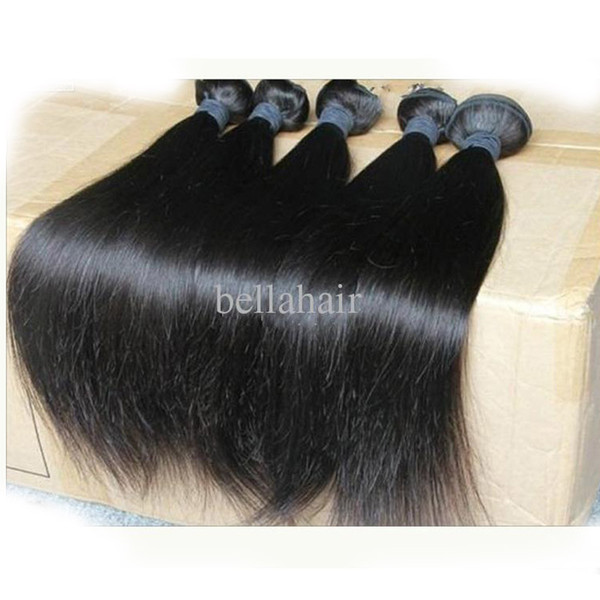 """8""""-30"""" 5Pcs Indian Virgin Human Hair Wefts Natural Color Weave Straight Bellahair Hair Extensions Double Weft Bulk Wholesale"""