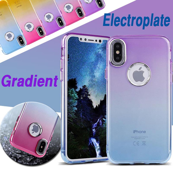 Gradient Color Case Soft TPU Silicone Transparent Electroplated Shockproof Protection Slim With Hard Button Cover For iPhone X 8 7 Plus 6 6S