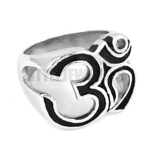 Free shipping! Om Symbol Buddhism Zen Art Ring Stainless Steel Jewelry India Om Yoga Motor Biker Ring SWR0301B