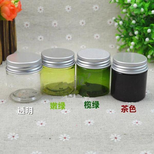 30g PET verde claro, oscuro brwon botellas de plástico verde oliva Cubierta de aluminio botella de crema cosméticos empaquetado tarro botella de muestra de alta calidad