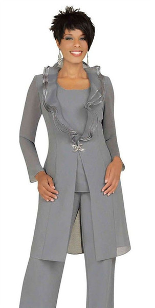 Abiti di moda per la madre della sposa grigio argento Abiti da completo con giacca lunga Scollo unico Pantaloni a tunica con un bottone Abiti da sera