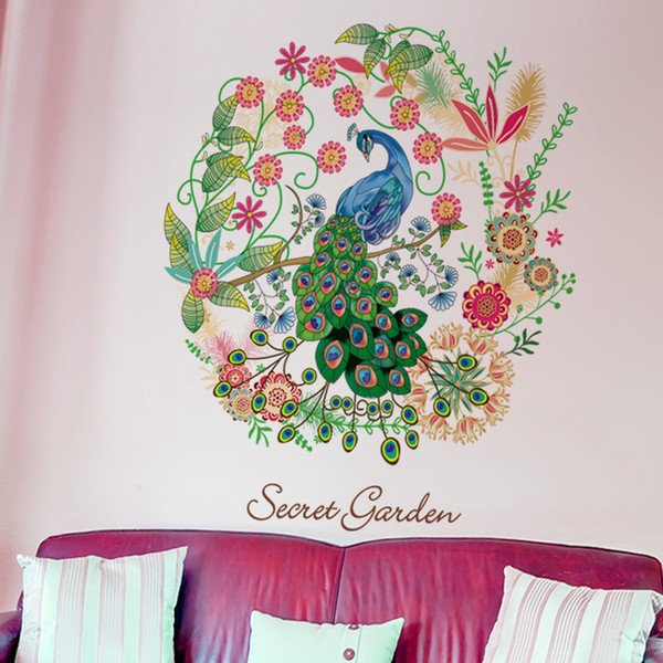 Floral Hoop Peacock Wall Decal Home Decor Flowers Mural Poster Secret Garden Living Room