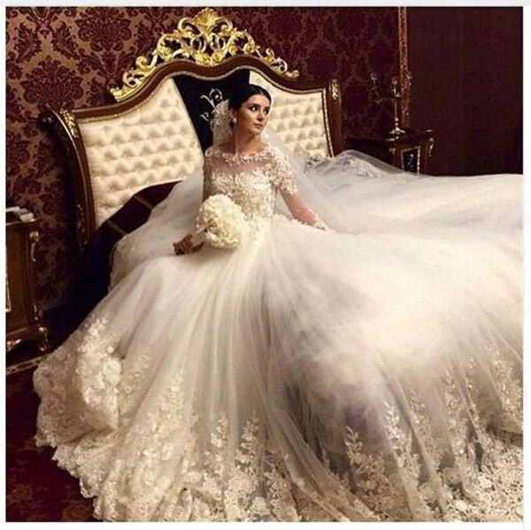 Discount Romantic Ball Gown Wedding Dresses Scoop Vintage Long ...