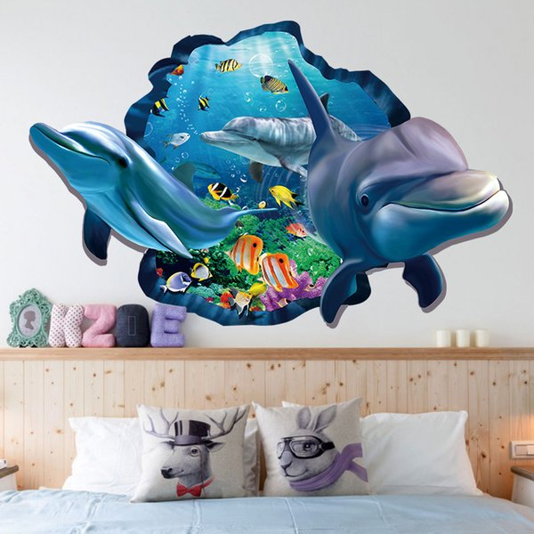 3D Stereo Shark undersea World Wall Stickers Kids Babies Room Nursery Wall Applique Blue Sea and Fish Wallpaper Poster Decoration for Boys