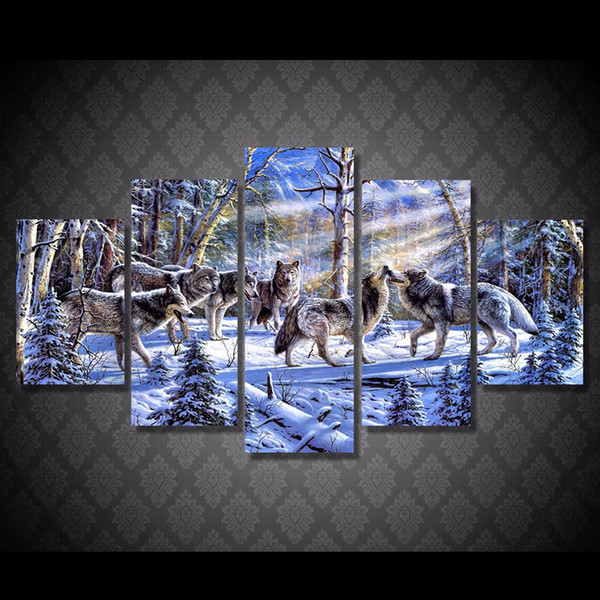 5 Pcs/Set HD Printed The wolves in the snow Painting Canvas Print room decor print poster picture contemporary canvas paintings