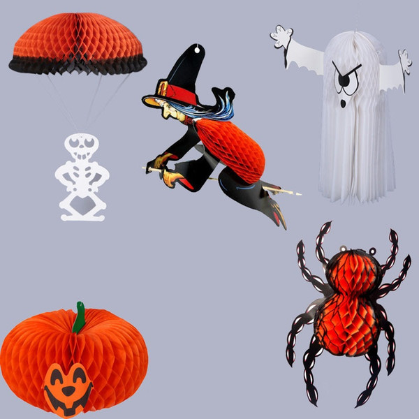 Halloween Costumes party props Decoration hanging Lanterns Pumpkin Ghost Bat Spider Witch Skull makeup Props Horror trick scary Party black